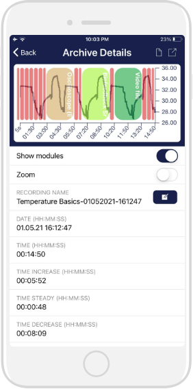 Archivo de biofeedback temperature en un iphone